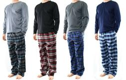 Men's Lounge Pajamas Set,Thermal Henley Top and Flannel Pant