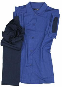 Navy blue pajamas, jacket and trousers in cotton jersey plus